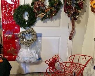 Christmas + Red Metal Sleigh.