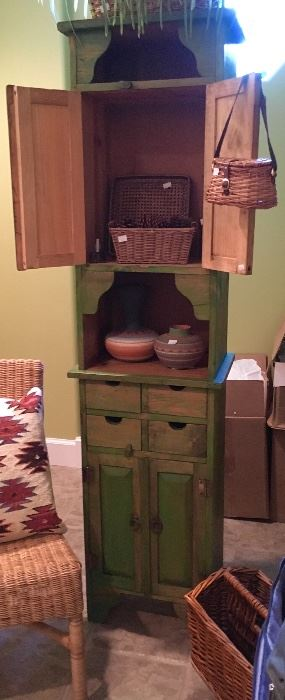 Primitive style  Slender & Tall Wood Cabinet.
