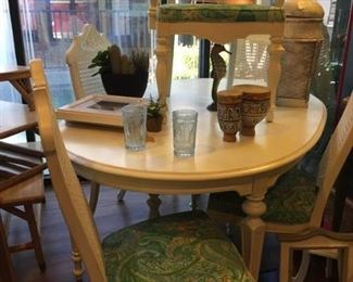 Coastal table with 5 chairs--seats custom painted!