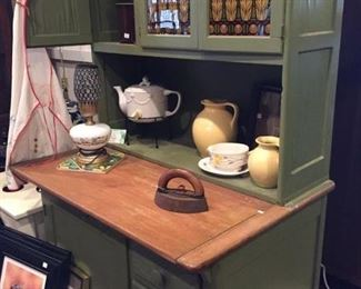 Hoosier cabinet with glass inserts
