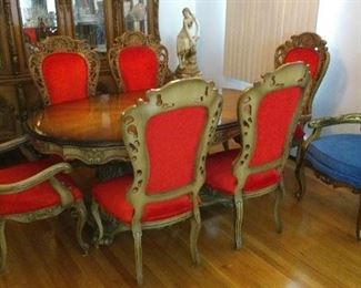 Blue chair sold. Cellini Furniture Company Complete Dining Room Furniture Suite Asking $1500.