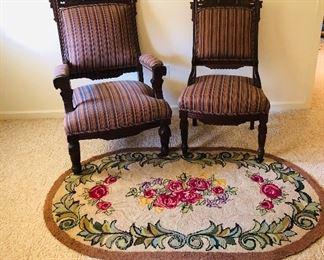 Eastlake gentleman's and ladies chairs