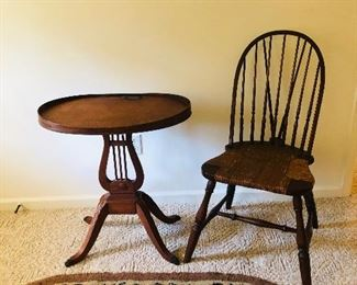 Lyre side table and braceback Windsor chair with rush seat