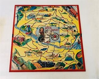 1950 Annie Oakley board game and pieces by Milton Bradley