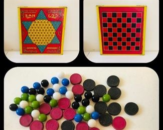 Vintage San Lou Chinese checkers/checker board metal.  Northwestern products / has marbles and checkers