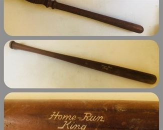 Vintage billy stick and home run king wooden bat