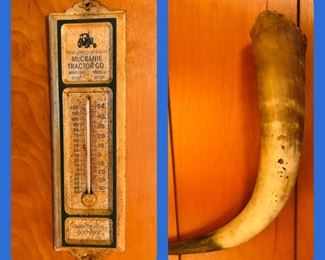 McCranie advertising wall thermometer  Vintage horn