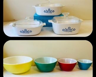 Coneflower corningware &  pyrex primary color nesting/mixing bowls