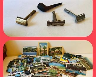 Vintage razors and pipe /the one on the right is a Durham Duplex gold plated Lots of vintage post cards