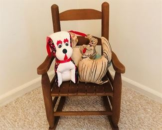 Childs rocker with vintage stuffed toys