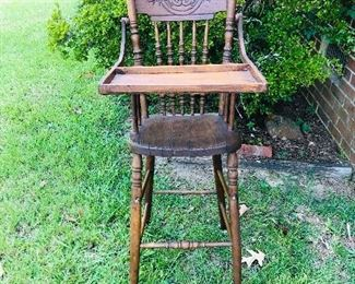 Antique Oak pressed back high chair