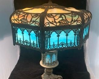 victorian slag lamp