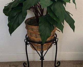 Faux Plant in Metal Stand