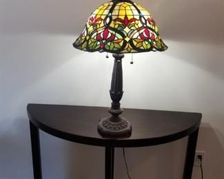 "Tiffany style lamp. Height 27"" (need finial)"