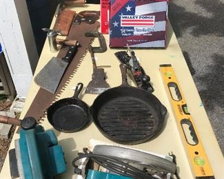 Makita Powertools, Vintage Two-Handed Saw (there are tons of vintage saws), Butcher Knives, Level, Turkey Fryer