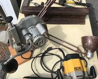 Dewalt Powertools, Sylvey Chain Sharpener, Railroad Track Anvil, Shop Lamp, etc