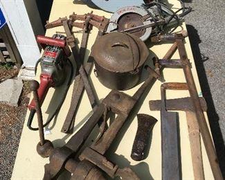Blacksmith's Post Leg Vise, Mafell MKS 125 Circular Saw, Vintage Skilsaw, Clamps, Milwaukee Hole Hawg