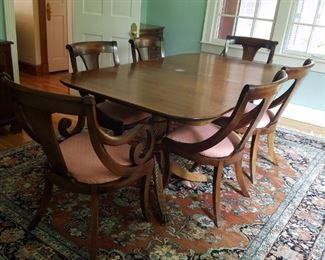 Mahogany Dining Table, 6 Reproduction Classical Chairs  including two arm chairs