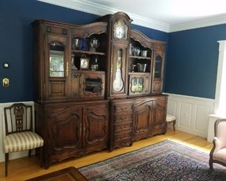 """*19th Century French Style Cabinet 118 inches long 100"""" high at its highest point with a built in Antique Wag  on Wall Clock. A magnificent piece and probably one of a kind."""