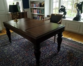 Embossed leather top writing desk