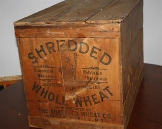 There is a great selection of antique wooden advertising crates, like this early 20th century large Shredded Wheat box