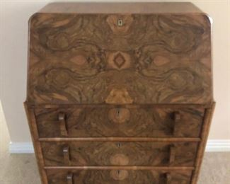 Antique drop down desk. Love the burl wood. Dovetailed drawers.