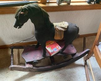 Antique rocking horse horse hair from 1909