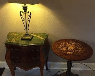 Three Drawer Bombay Chest from Egypt, Round Side Table...