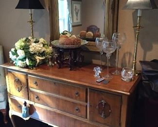Vintage Hutch, Lots of Nice Mirrors, Lots of Flower Arrangements...