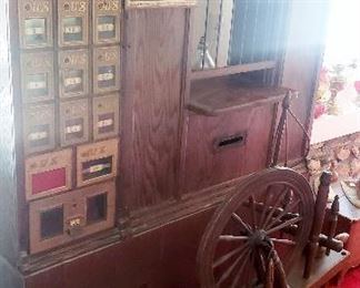 antique spinning wheel  oak post office boxes