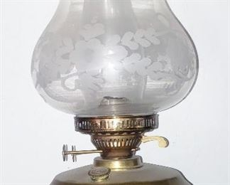 Antiwue brass oil.lamp with acid etched shade