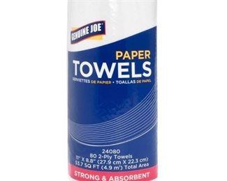 Genuine Joe 2-Ply Household Roll Paper Towels, White, 30 / Carton (Quantity)