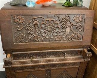 carved drop front secretary desk