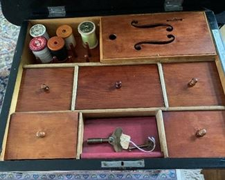 Inside of sewing box/table