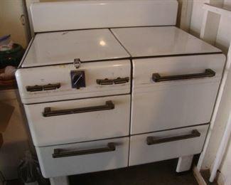 Vintage 1940's white enamel cook stove