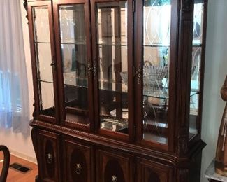 """Matching china cabinet for dining room set. Measures 91-1/2"""" x 66"""" x 18"""". Available for purchase before sale. $475"""