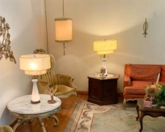 Mid Century Swag Lamp, pair of 50s lamps, cool orange couch, coffee table, end table and rug