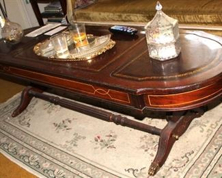 Vintage Duncan Phyfe Mahogany Leather Top Coffee Table (part of set)