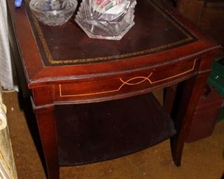 Duncan Phyfe Leather Top Mahogany End Table