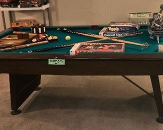 Vintage Pool Table With Accessories ~ Lower Level