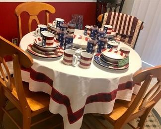 Red, White & Blue Dinnerware ~ Round Wooden Table With Four Chairs ~ Kitchen