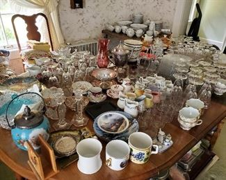 Many, many bits of fine glassware! Many items from Germany and England.