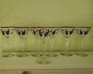 Vintage Libbey Pickwick Merrymakers Glasses