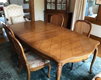 """Dining Table and 6 Chairs 78"""" long with 18"""" leaf, plus extra leaf not shown"""