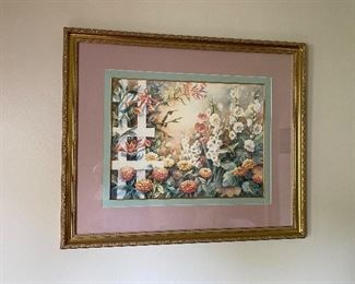 Rose Cravens framed print of hummingbirds and hollyhocks.