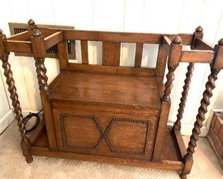 Antique oak umbrella stand & seat
