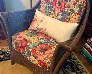 One of several old wicker chairs