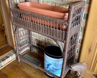 Old wicker plant stand