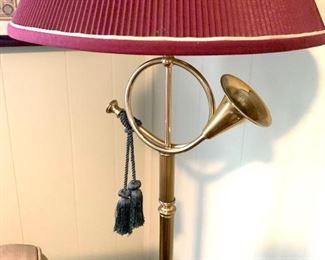 Brass horn floor lamp (2 available)