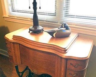 antique Singer sewing machine (lamp & decoy no longer available)